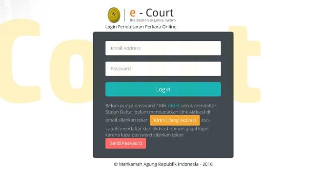 Aplikasi E-Court Mahkamah Agung RI